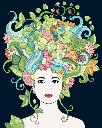 Vector hand drawn illustration woman portrait with floral hair, flowers and leaves for adult coloring book. Vector doodle, zentangle illustration. Template, background, wallpaper, pattern