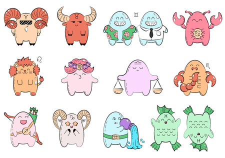 Zodiac icons. Collection of twelve icons of zodiac signs. Vector doodle illustration with cartoon comic characters. Funny animals, monsters. Signs and symbols. Patch, badge Illustration