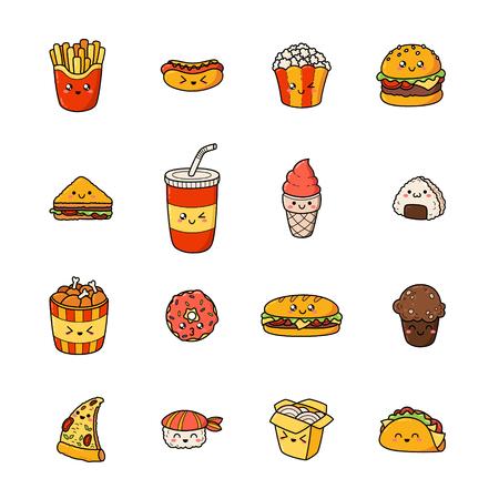 Set of junk food cartoon doodle icons. Stock Vector - 91219407