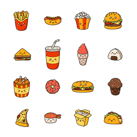 Set of junk food cartoon doodle icons. Illustration