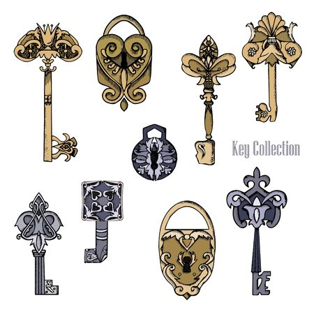 Set of vector old castles and keys in sketch style. Hand drawn vintage illustration Stock Photo