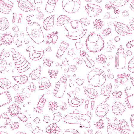 Wallpaper design with cartoon doodle of toys and baby items.