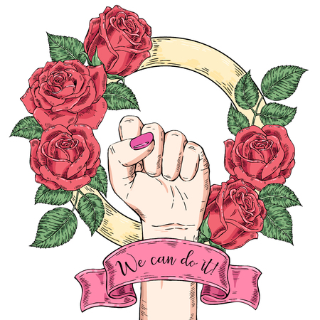 Vector hand-drawn background, sketch illustration. Template for printing, advertising, poster, poster, web design. Female hand with fist raised up. Symbol of feminism. We can do it. vintage rose