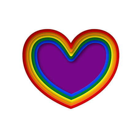LGBT rainbow pride flag in a shape of heart. Lesbian, gay, bisexual, and transgender 3d design element. Paper cut rainbow heart. Template for postcards, posters, advertising, printing, web design.