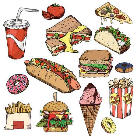 Fast food background. Snack collection. Junk food. Vector illustration, wallpaper backdrop