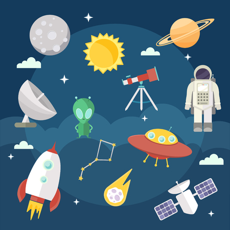 Set of vector flat cartoon cosmic icons. Space exploration, flights
