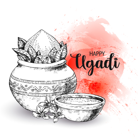 Happy Ugadi. Template greeting card for holiday. Sketch Style. Watercolor background, backdrop, wallpaper