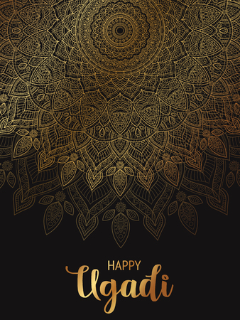 Happy Ugadi. Template greeting card for holiday. Mandala background, backdrop, wallpaper