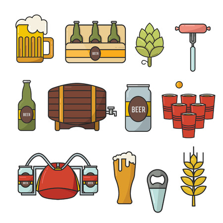 Doodle vector flat icons, set of beer symbols. Beer helmet, mug, glass, sausage, barrel, beer pong.