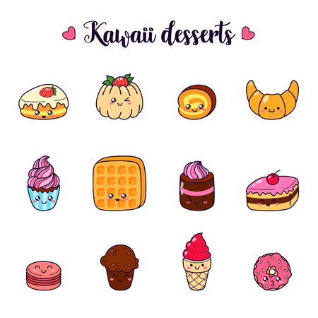 Set of vector cartoon doodle icons dessert, cake, ice cream, sweets food. Illustration of comic baking. Patch, badge. Template for printing, cards, T-shirts, sweatshirt. Cute characters