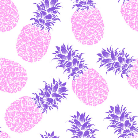 Abstract seamless pattern, wallpaper, background, backdrop. Pink with purple hand drawn pineapple. Vector sketch, tropical exotic fruit. Template for printing, packaging, advertising, web design, card