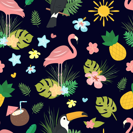 Seamless vector cartoon doodle pattern. Exotic tropical texture for printing, web design, poster template. Collection of funny elements Иллюстрация
