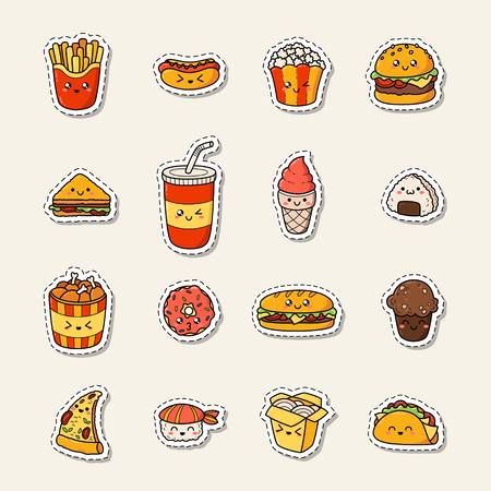 Set of vector cartoon doodle icons junk food. Illustration of comic fast food. Patch, badge Vettoriali