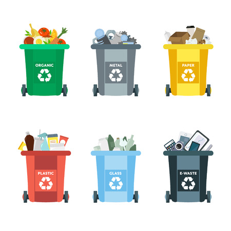 Recycling garbage elements. Sorting and processing of garbage. Utilize waste. Trash bags bins cans