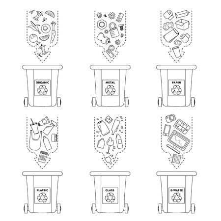Recycling garbage elements. Sorting and processing of garbage. Utilize waste. Trash bags bins cans Vector Illustratie