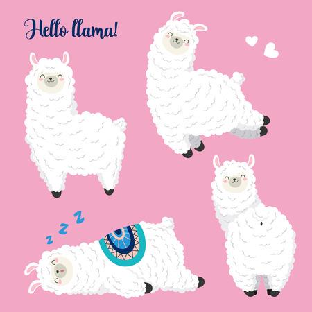 Lama mignon, illustration vectorielle de doodle. Collection de personnages de dessins animés, autocollants, patchs
