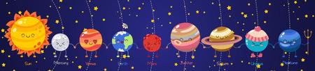 Satz Vektor Gekritzelkarikaturikonen Planeten des Sonnensystems. Komische farbige lustige Charaktere. Kindererziehung. Tapete, Hintergrund, Symbole, Vorlage für Webdesign, Grußkarte, Umschlag, Plakat Vektorgrafik