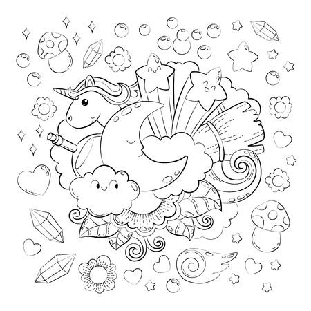 Halloween Concept. Hand drawn cartoon doodle illustration. Magic pattern. illustration for adult coloring book. Sketch for adult anti stress coloring book page with doodle and zentangle elements