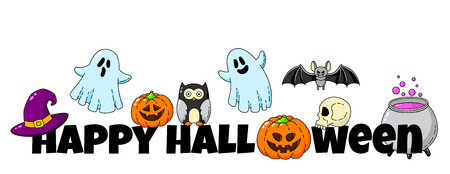 Cartoon doodle card. Happy Halloween. Background wallpaper Stock Illustratie