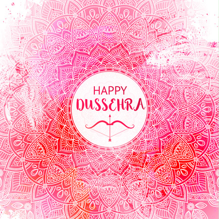 Happy Dussehra background decorated with ornamental floral mandala Stok Fotoğraf