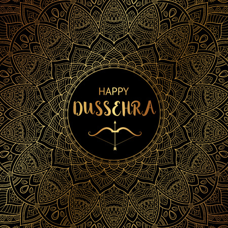Happy Dussehra background decorated with ornamental floral mandala Stock Photo