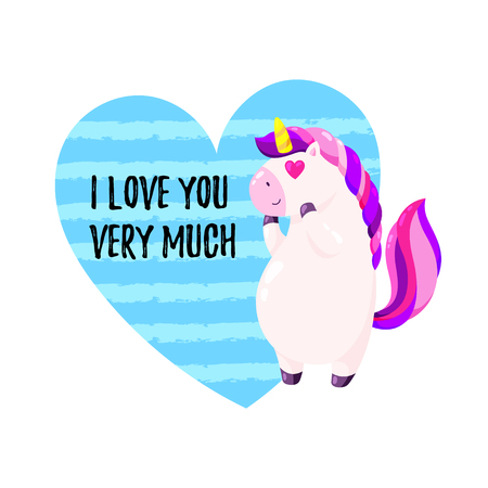 Cute vector greeting card with unicorn. Stock fotó - 110023966