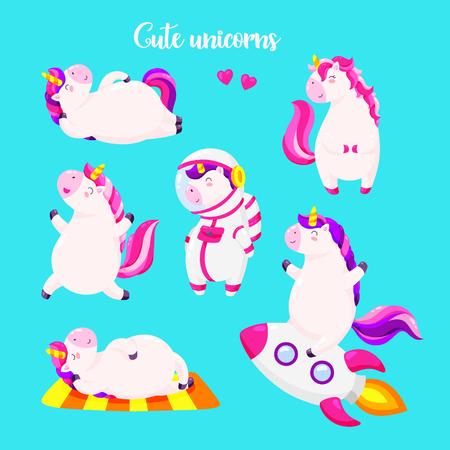 Set of funny cartoon magic unicorns. Patch, badge sticker. Vectores