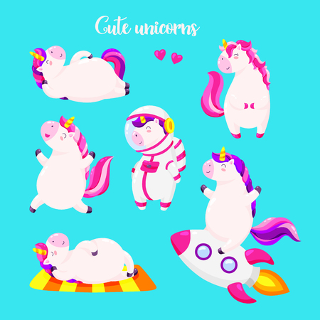 Set of funny cartoon magic unicorns. Patch, badge sticker. Illustration