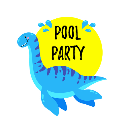 Cute Doodle Dinosaur. Template for print, design
