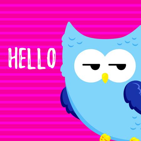 Cute cartoon tired displeased owl. Vector doodle illustration. Template for design, print. 矢量图像