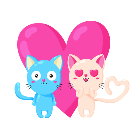 Cute vector greeting card with cat. Template for St. Valentine s Day. Enamored kitten.