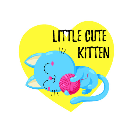 Cute cartoon kitten playing with a ball. Vector doodle illustration. Illustration