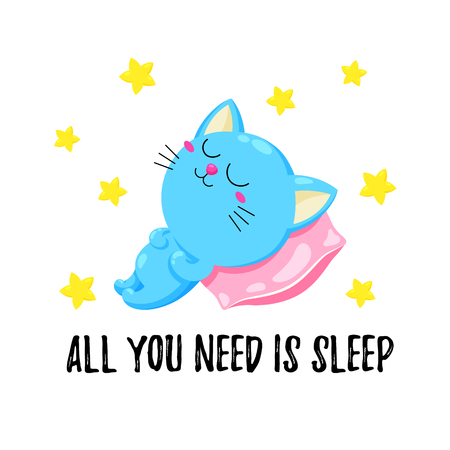 Cute cartoon illustration with a sleeping kitten. Vector doodle card. Funny sleeping cat. Illustration