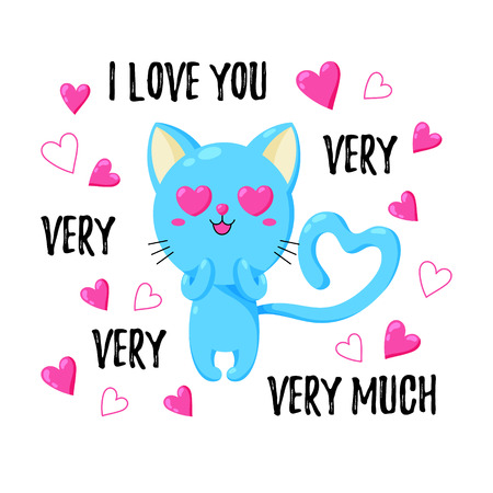 Cute vector greeting card with cat. Template for St. Valentine s Day.