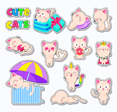 Collection of cute vector cats. Doodle character for print, web design, postcards. Set of stickers Illustration