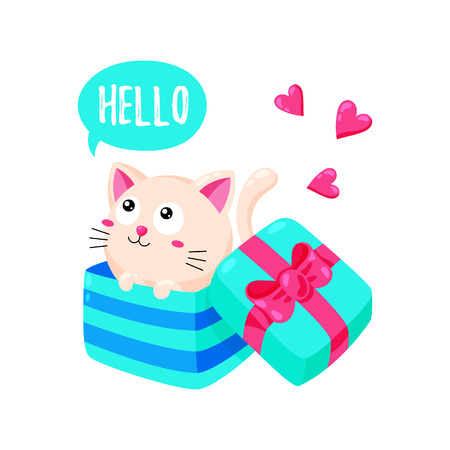 Cute cartoon card with kitten. Cat looks out of a gift box