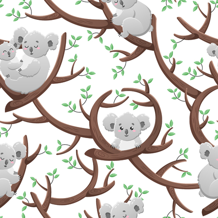 Funny seamless pattern with cartoon koalas. Template for design, print, packaging, wallpaper