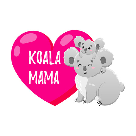 Vector cartoon koala with heart. Doodle illustration. Mom and child.