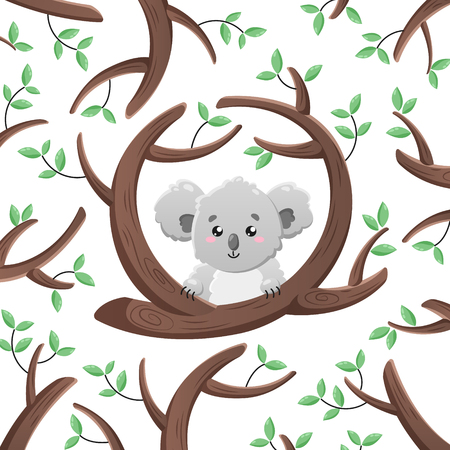 Vector cartoon koala among the leaves and branches. Doodle illustration.