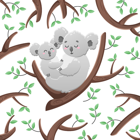 Vector cartoon koalas among the leaves and branches. Mom and child. Doodle illustration.