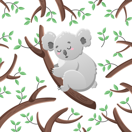 Vector cartoon koala among the leaves and branches. Doodle illustration