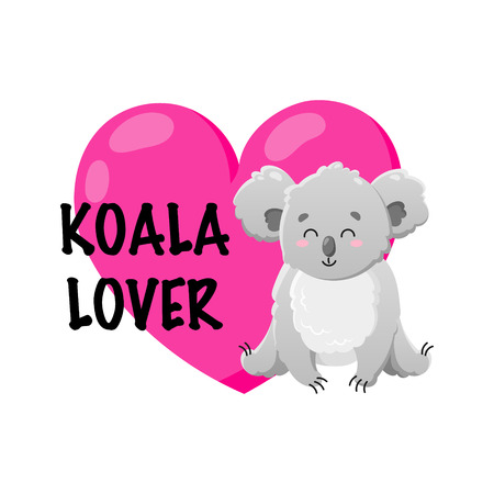 Vector cartoon koala with heart. Doodle illustration. Koala lover. Funny happy animal. Template for print, cards, textiles, clothing, design.