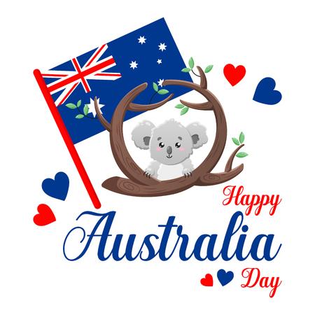 Vector poster on white background. Happy Australia Day. Cute funny koala.  イラスト・ベクター素材