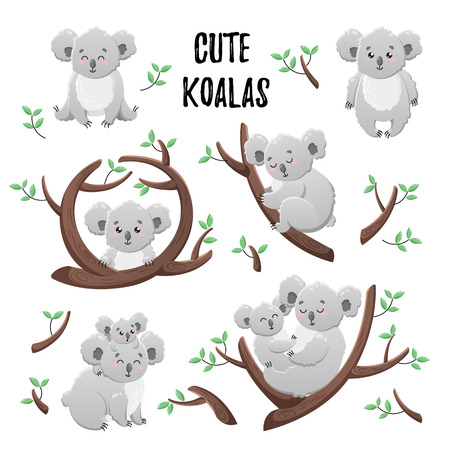 Collection of cute cartoon koalas. Set of vector stickers. Doodle icons