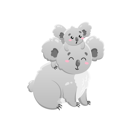 Cute cartoon koala. Mom and baby. Vector isolated illustration on white background.