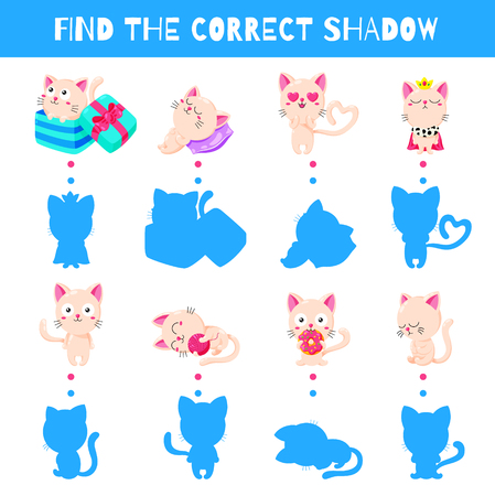 Fun game for kids. Find the correct shadow. Vector cartoon illustration. Illustration
