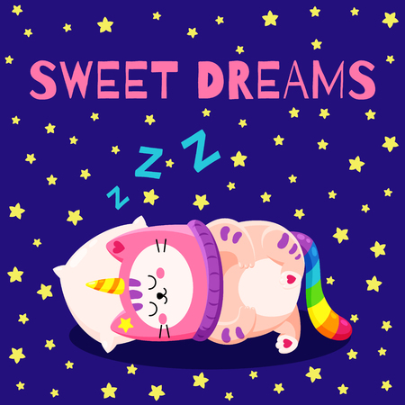 Cute cartoon vector doodle cat. Kitten in a unicorn hat. Magic character. Template for greeting cards, design, textiles. Funny cat sleeping on a pillow
