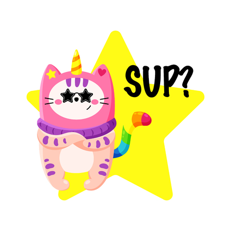 Cute cartoon vector doodle cat. Kitten in a unicorn hat. Magic character. Template for greeting cards, design, textiles. Cool cheeky cat