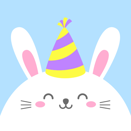 Funny cartoon card with hare. Happy character. Template for design, print.