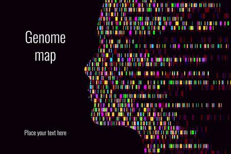 Infografik zum DNA-Test. Vektor-Illustration. Genomsequenzkarte. Vorlage für Ihr Design.